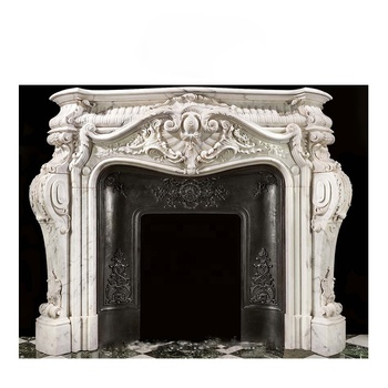 Louis XV style carved Statuary Marble fireplace surround mantel