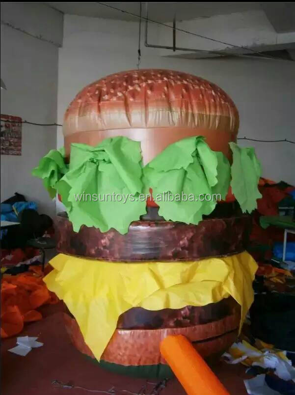 A grade Fast food inflatable hamburger bespoke,cute inflatable snack food replicates for shop promotion and sale