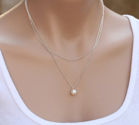 Fashion Pearl Choker Necklace Women Cute Girl Gold Silver Color Double Layer Chain Pearl Pendant Korean Jewelry Woman