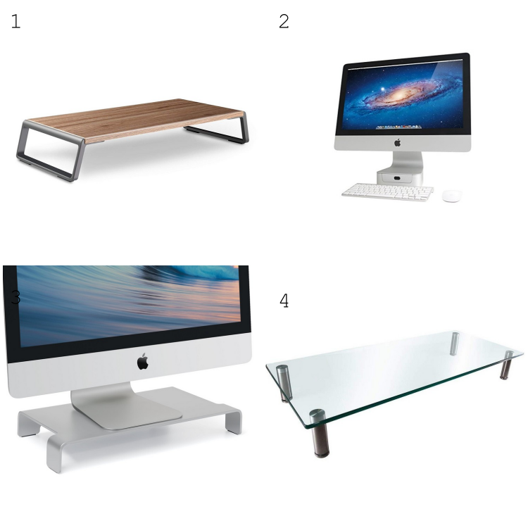 Monitor Stand Riser Desk Organizer with Metal Feet for Computer Laptop Sturdy Platform Single Tier Computer Monitor Shelf Stand