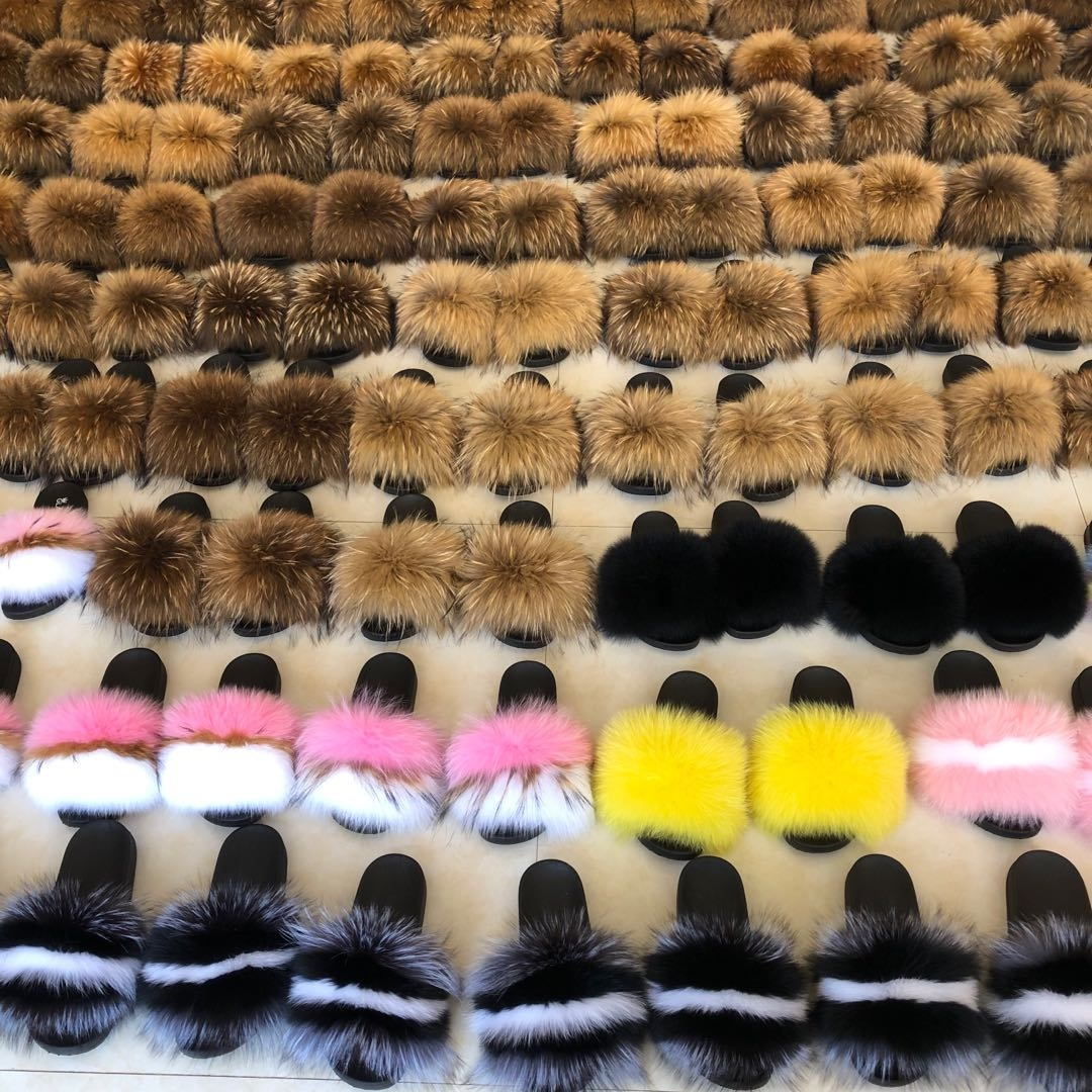 2019 new design Wholesale real fur slide fox fur indoor <strong>slippers</strong> for women