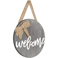 Decorative Round Rustic Front Door Decor Wooden Welcome Sign