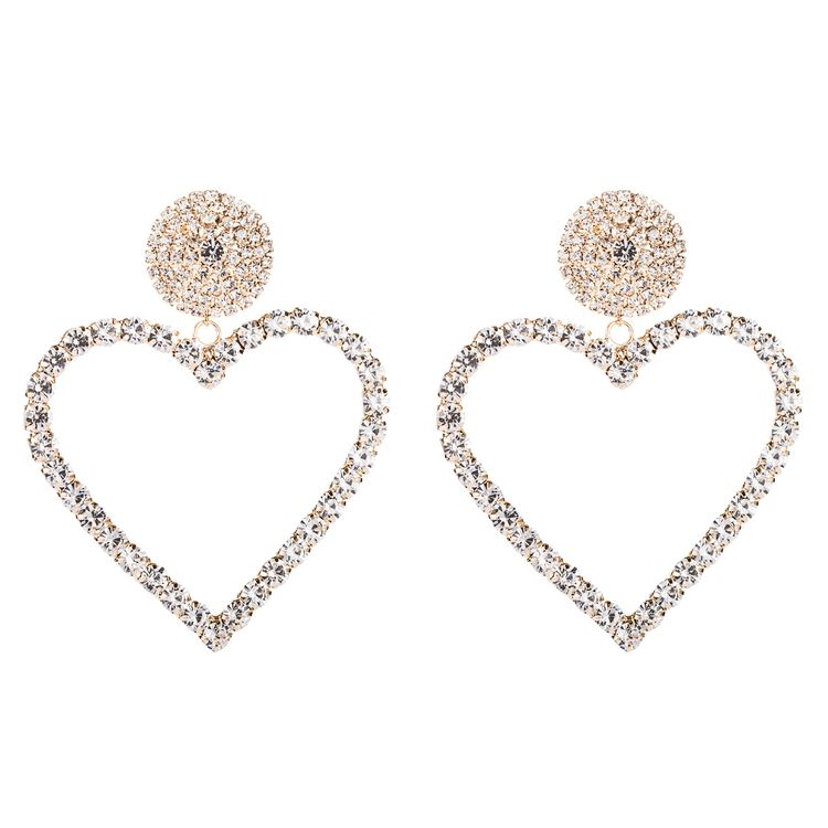 2020 New Arrival Silver Plated Crystal Rhinestone Wedding Heart Hoop Earrings For Bridal