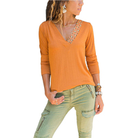 Hot Sale Casual Autumn Solid Color V Neck Long Sleeve Cotton T Shirt Women