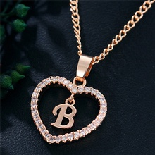 Personalised Initial Letter Jewelry Gold Color Heart Pendant <strong>Necklace</strong>