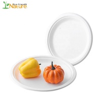 100% Compostable Bagasse Disposable 7 Inch Biodegradable Plates Sugarcane