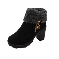 dropship OEM winter foldable winter fur linnng slip on zipper high heel height increase anti cold women snow boots women shoes