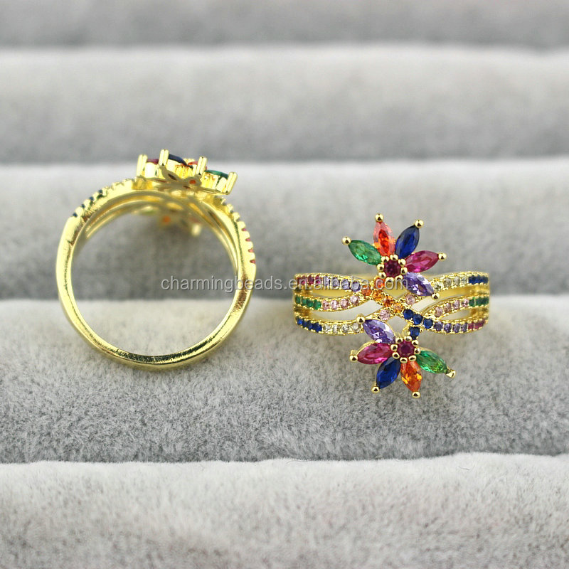 CH-HDR0025 Fashion flower shape  cz ring, adjustable colorful plated ring, cz charm jewelry cheap wholesale