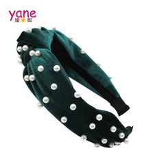 Handmade <strong>Hair</strong> <strong>Accessories</strong> Pearl Knot <strong>Hair</strong> Band Velvet Headband For Girls