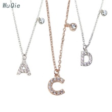 Wuqie 2020 New Fashion Full Drill Women Jewelry Silver Jewelry Letter Pendant Necklace