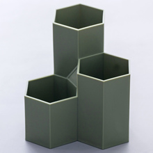 high quality hexagon pen holder plastic hot sale pen stand office use pen holder