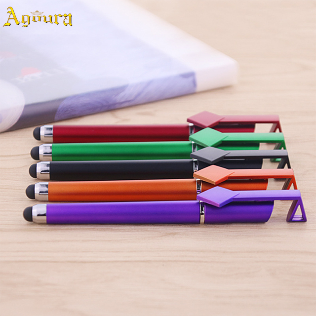 Promotion plastic Qr code capacitive pen with mobile phone holder Multi-function stylus