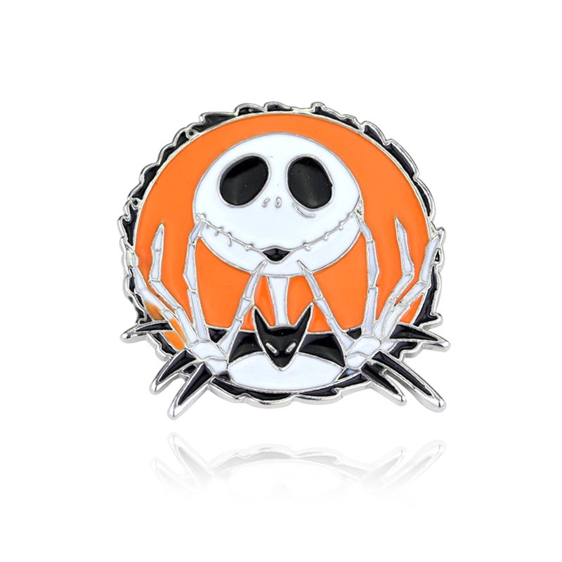 The Nightmare Before Christmas Brooch for Women Round Shape Colorful Enamel Pins Skeleton Jewelry
