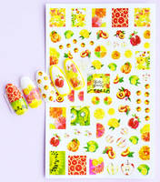 2020 Summer Fruit Nail Sticker Strawberry Cake Jewelry Water Decals Nail Art Sticker Professional Slider Watercolor DIY Manicure