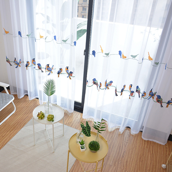 Curtains for Living Room Bedroom Pastoral Curtain with Embroidery,Birds White Curtain Window Treatment/
