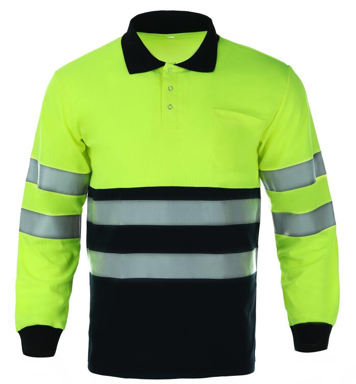 High Visibility Custom Polyester Uniform <strong>Safety</strong> Two Color Long Sleeve POLO T-shirt