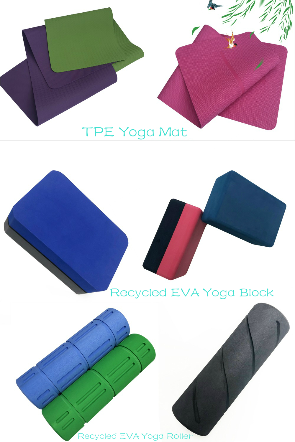 Eco Friendly Gym Custom 6mm Sports Fitness Equipment Comfortable Two Double Color Anti Slip Yoga Exercise Balance Mat