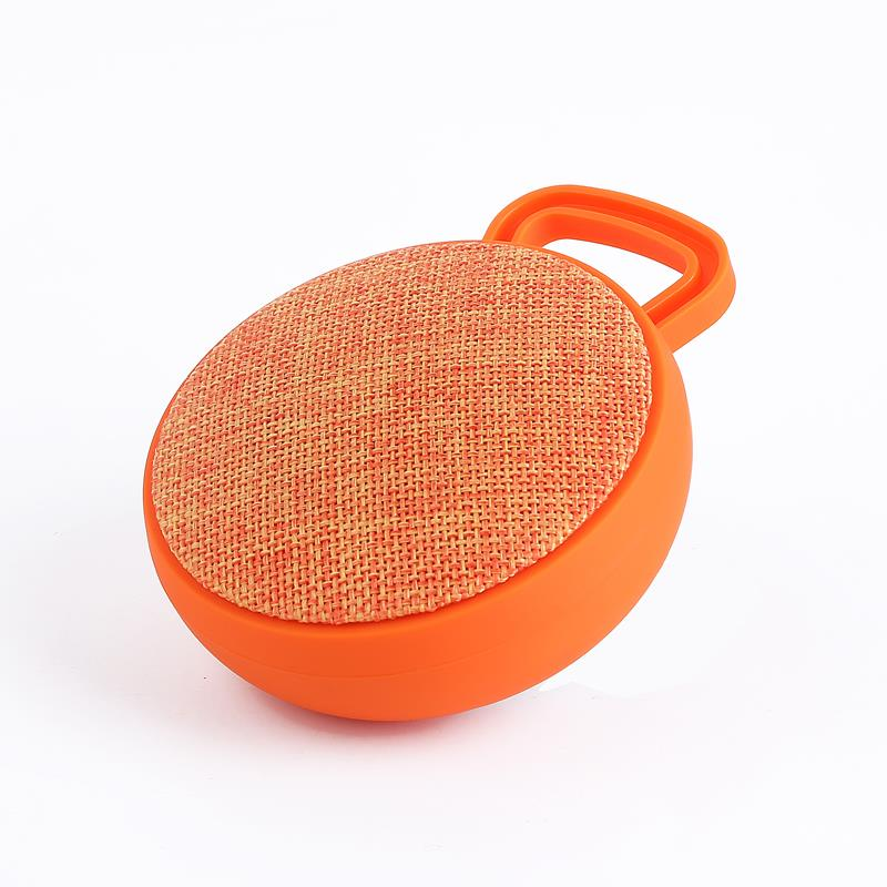 Portable Fabric Music Mini Wireless Outdoor Cloth Speaker Professional Sport Round Speaker With Plastic Button Panel And Handle