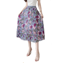 Fashion Floral Chiffon Pleated <strong>Skirt</strong> Summer New A-line <strong>Skirt</strong> Large swing Girl Long <strong>Skirt</strong>