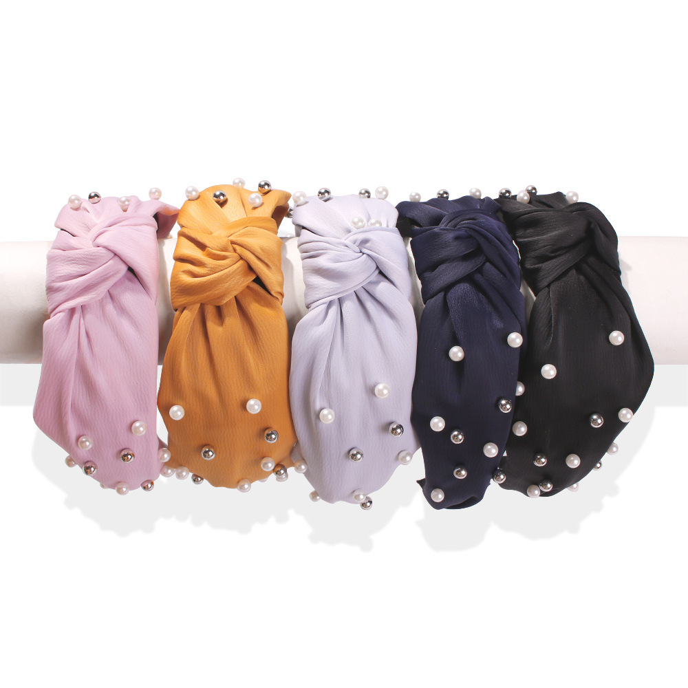 wide women bowknot headband fabric pearl headband women silk clothing girl plastic hair band