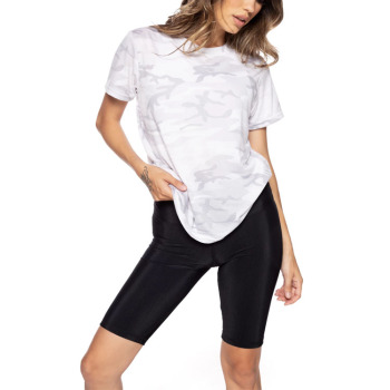 High Quality New Trendy short sleeve printed women Organic Cotton  Camouflage Plus Size T shirt