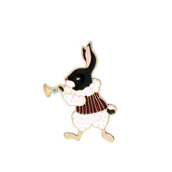 Alice in wonderland jewelry decoration Cute Enamel lapel pin badge metal rabbit pin brooch gift garment accessories wholesale