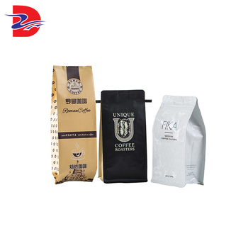 Custom printed black flat bottom aluminium foil laminating plastic pouch stand up food packaging bag coffee bean bag with valve