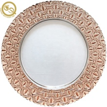 Cheap Royal Gold Rim Glass Charger Plates for wedding