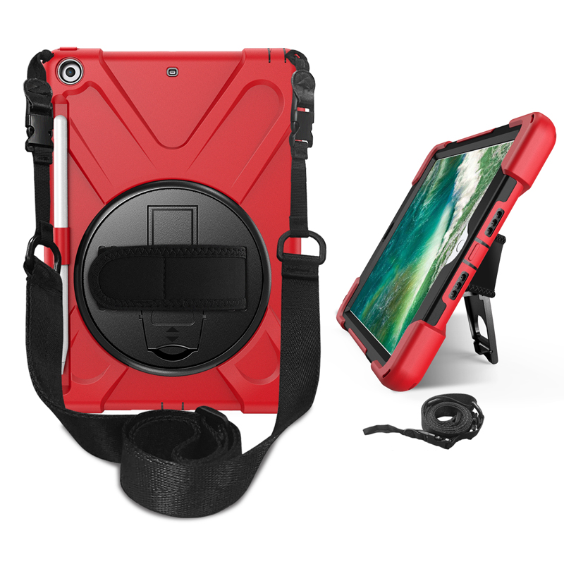 Triple layers combo defender case for <strong>iPad</strong> 9.7 2018 with pen holder and shoulder strap