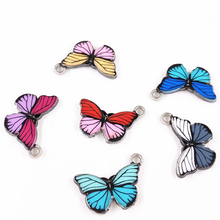 JS1494 Fashion Chic Colorful rainbow enameled metal butterfly <strong>charm</strong> pendants