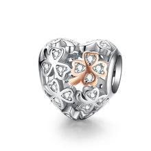 Latest Qings Heart Clover Bead Zircon <strong>Charms</strong> OEM/ODM 925 Sterling Silver Plated Rose Gold Zircon <strong>Charm</strong> Pendant