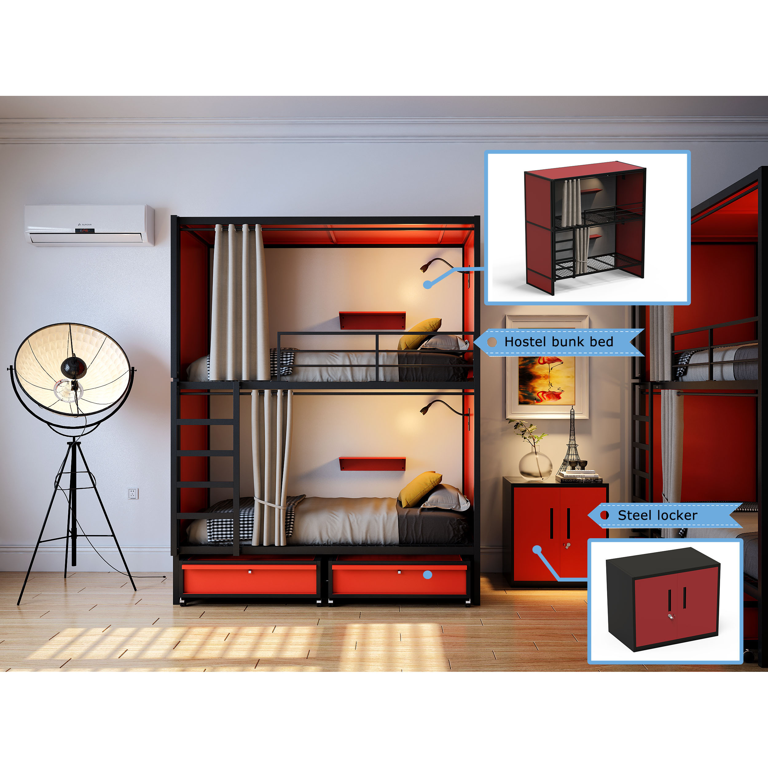 Modern Design Iron Queen Size Hostel Double Loft Bunk Bed Frame Room Furniture Bedroom Set For University Sale Buy Stainless European Bed With Clothes Rack For Hostel Low Price Heavy Duty Bed