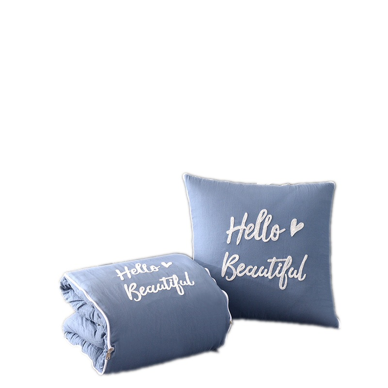 Portable Home and Travel Cushion Blanket Printed <strong>Cotton</strong> 2 in 1 Pillow Blanket