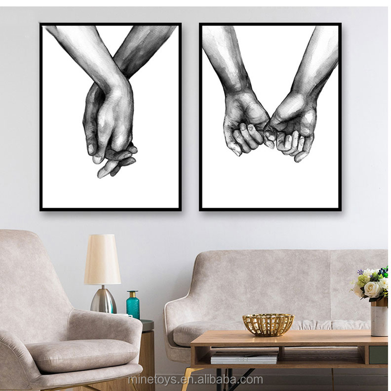 3 panel Poster Black And White Holding Hands Picture Canvas Prints Lover Quote Painting Wall Art For Living Room