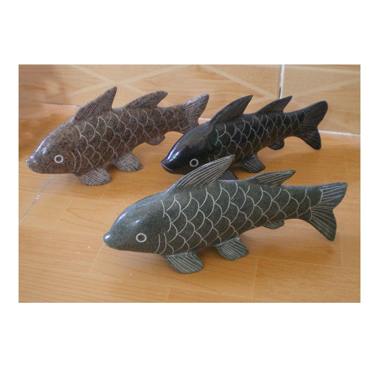 GAB511 Mini Granite Stone Hand Carving Fish Statue