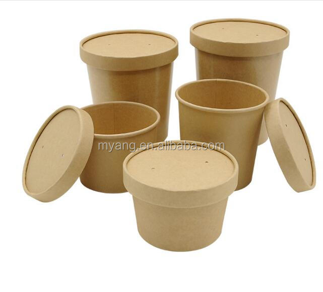 disposable take out paper food container paper cup salad soup ice cream cup with lid