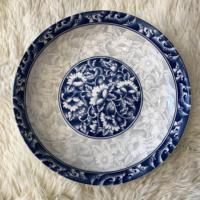Wholesale 7.5 inch blue cheap ceramic porcelain printing dinner plate