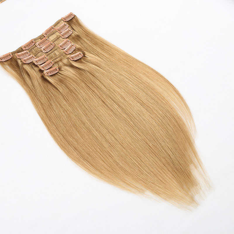 18 inch 7 pieces full head clip in hair extension made from Russian hair