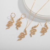 Hot Selling Inlaid Rhinestone Animal Necklace Earrings Gold Snake Necklace Jewelry