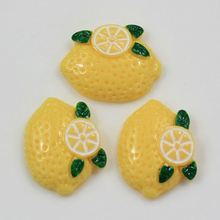 Bulk Cute Flat Back Lemon Fruit Resin Bead Cabochons Chunky Artificial Loose Stickers for <strong>Fridge</strong> Scrapbook