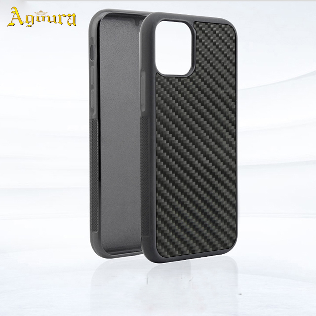 For iphone 11 TPU PC real carbon fiber 3K twill two-in-one mobile case covers