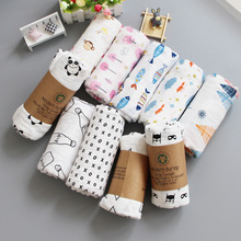 "Amazon popular custom cheap 120x120cm 100% cotton bamboo 47*47"" organic fabric white printed muslin baby blanket swaddle"