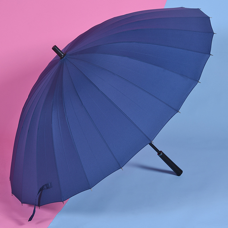 Hot selling large size 24ribs windproof umbrella long straight handle umbrella