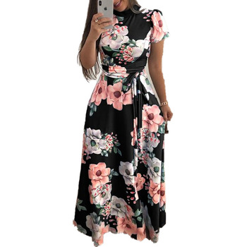 womens flower print long summer maxi casual bohemian batik floral bodycon clothing dress for ladies