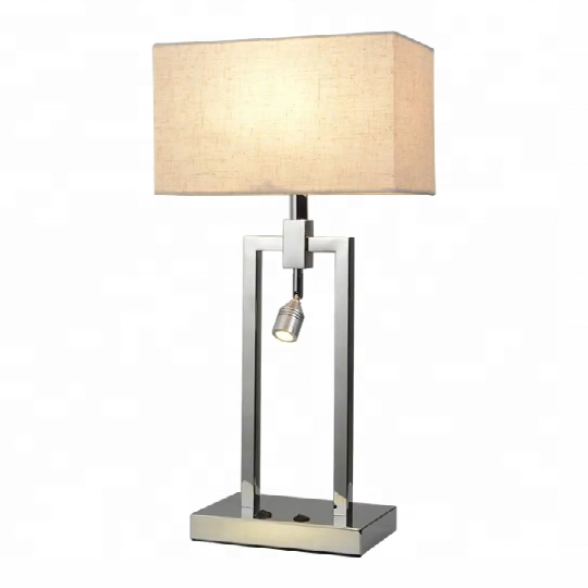 Modern nordic hotel bed room steel fabric reading desk table lamps with <strong>led</strong> spot