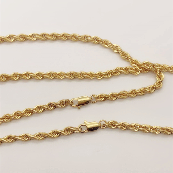 Wholesale Hip Hop sole design italy craft 18K Solid Gold Chains 3.5MM 22inch / 26 inch Pure Gold Rope Chain Men Necklace