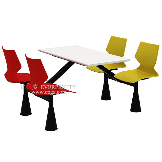 Modern Design Eethoek 4-Persoon Kantine Tafel Stoel Set