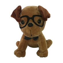 Custom Wholesale Small Plush dog wear glasses Dog Soft Puppy <strong>Animals</strong> Stuffed And OEM/ODM Plush Toys