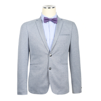 Causal knit stretch slim printed blazers high quality gray official tailored prince formal suits for men