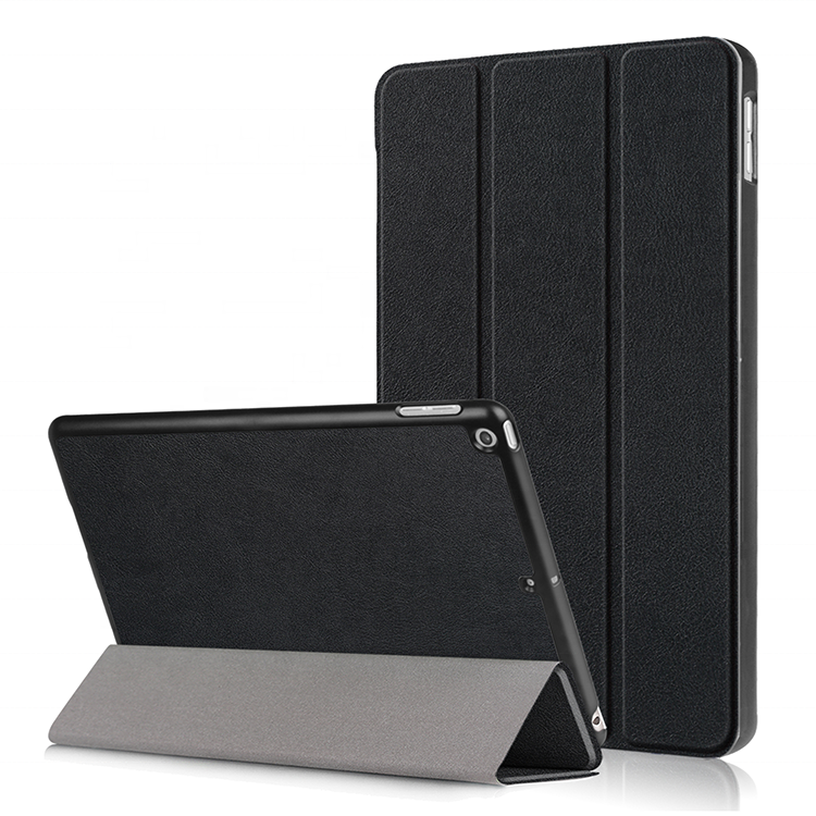Simple three fold stand PU leather hard case cover for <strong>iPad</strong> 9.7 9.7&quot; 2017 2018 universal with dormancy function